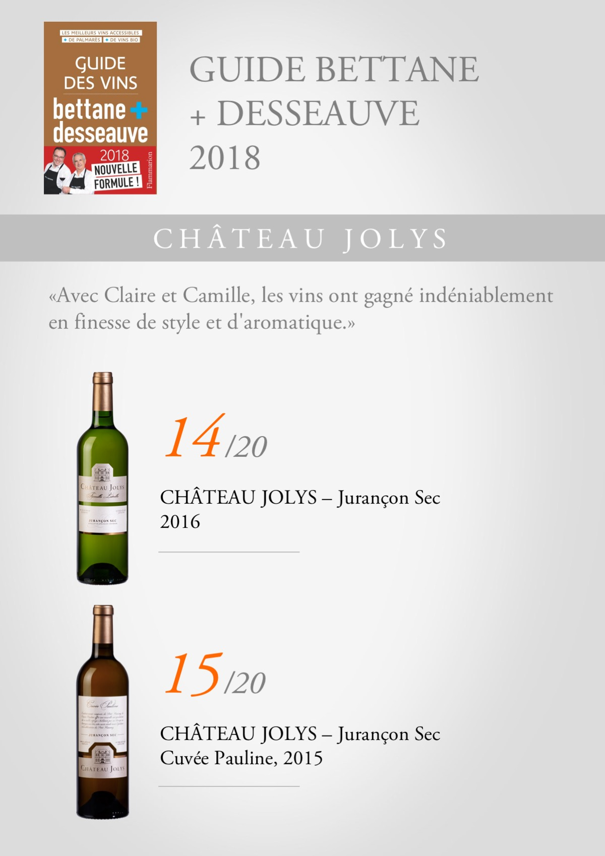 Guide Bettane et Desseauve 2018 Jolys