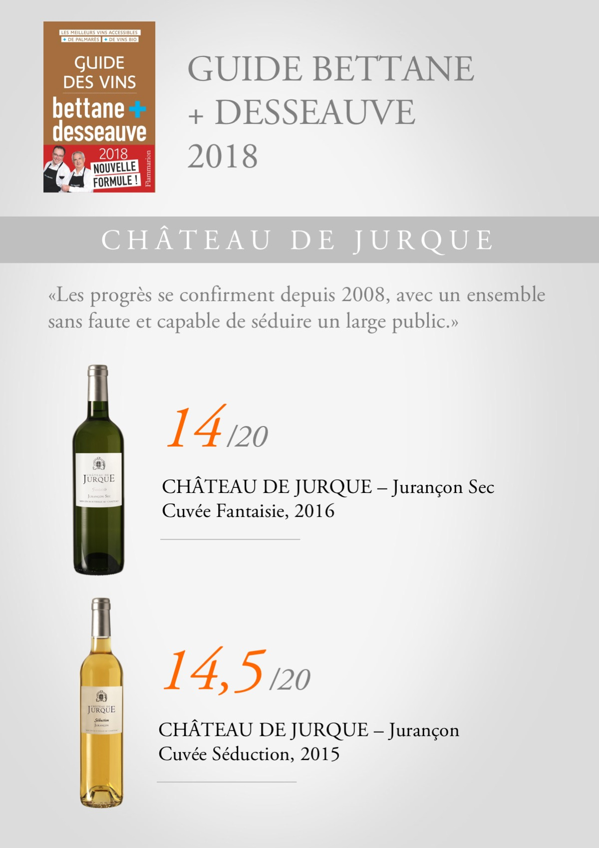 Guide Bettane et Desseauve 2018 Jurque