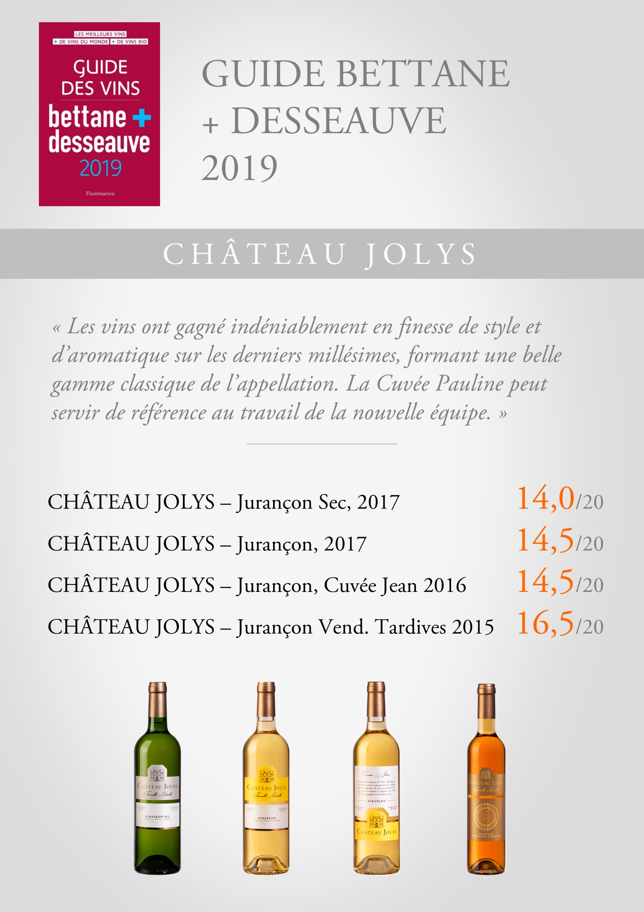 Guide Bettane + Desseauve 2019 Chateau Jolys